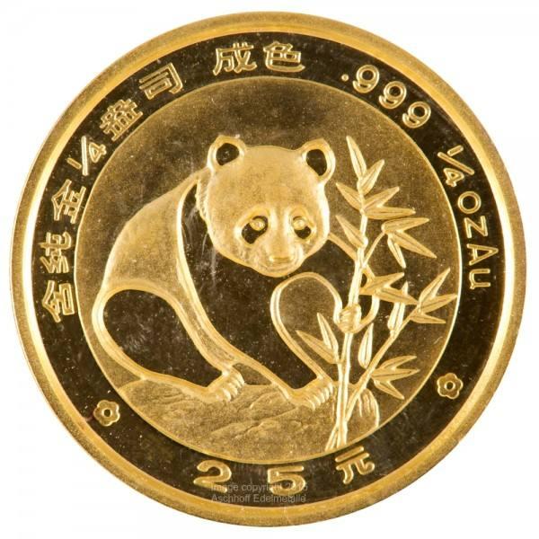 China Panda 1988, Goldmünze 1/4 Unze (oz) Original-Folie