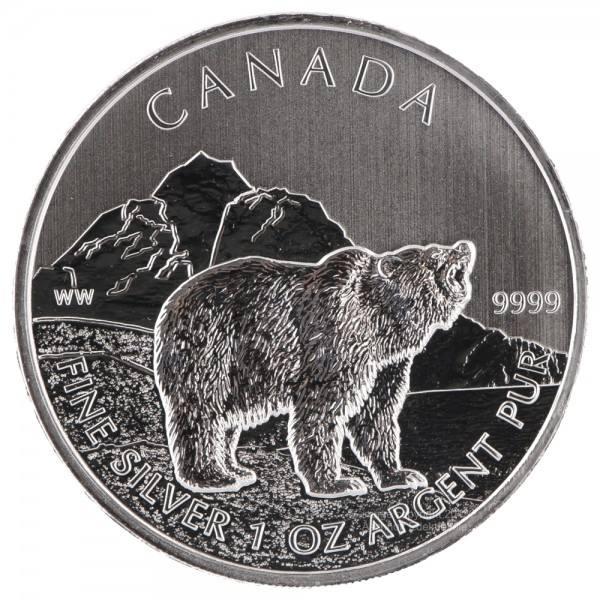 Ankauf: Canadian Wildlife 2011 Grizzly, Silbermünze 1 Unze (oz)