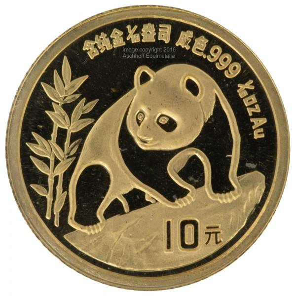Ankauf: China Panda 1990, Goldmünze 1/10 Unze (oz)
