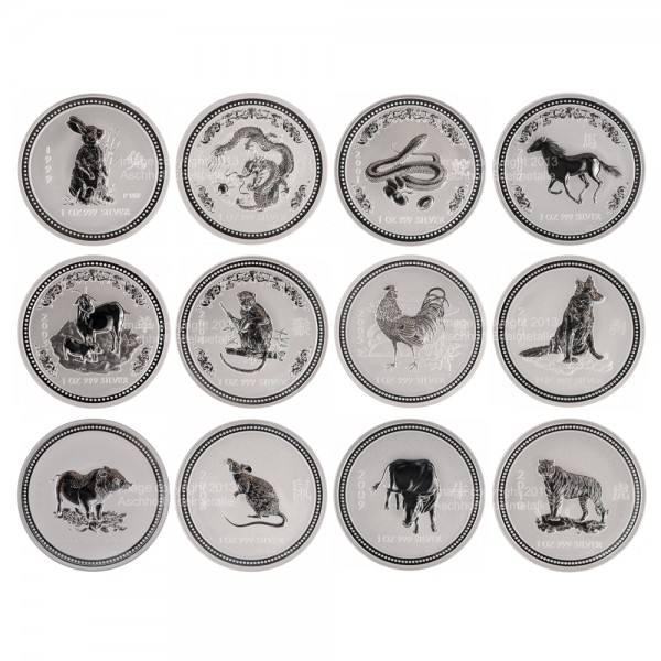 Ankauf: Lunar I Silbermünzen 12 x 1 Unze (oz) Komplett-Set