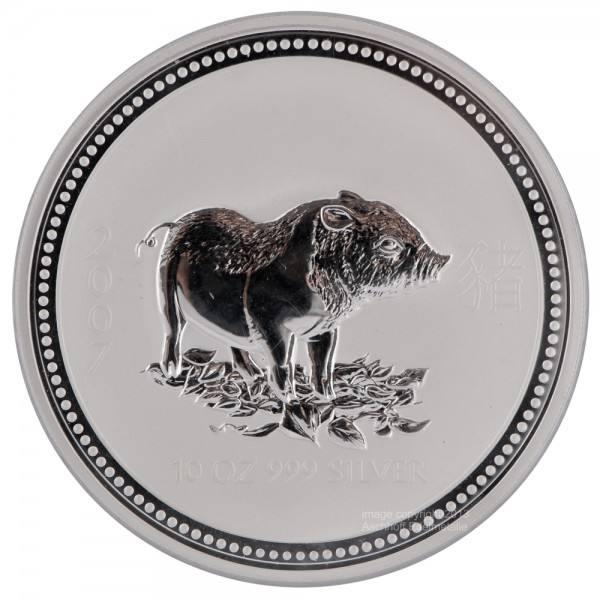 Ankauf: Lunar I 2007 Schwein, Silbermünze 10 Unzen (oz)
