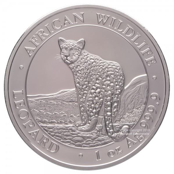 Somalia African Wildlife Leopard 2018, Silbermünze 1 Unze (oz)