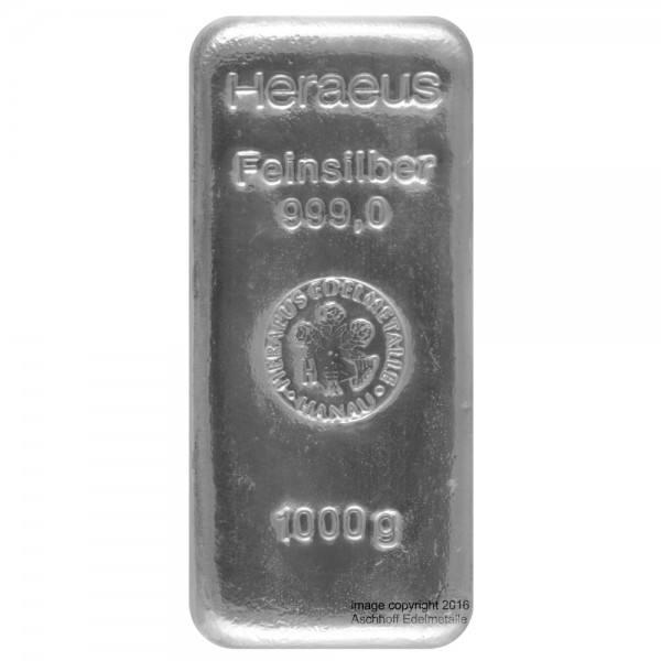 Ankauf: Silberbarren 1 Kilo LBMA-zertifiziert, diverse Hersteller