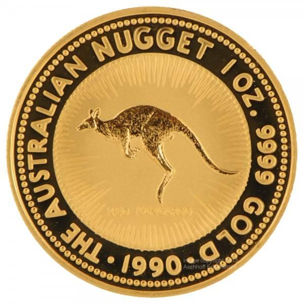 Ankauf: Australian Nugget (Kangaroo) 1990, Goldmünze 1 Unze (oz)