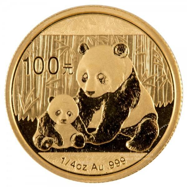 China Panda 2012, Goldmünze 1/4 Unze (oz) Original-Folie