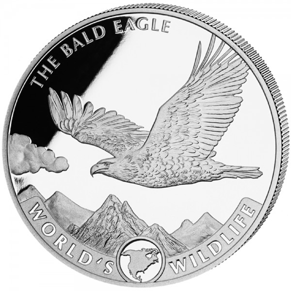 Worlds Wildlife Kongo Bald Eagle 2021, Silbermünze 1 Unze (oz)