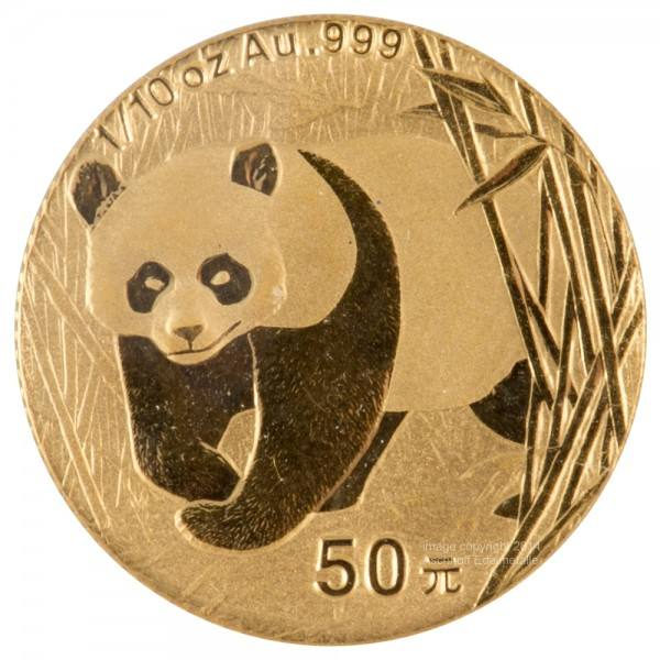 Ankauf: China Panda 2002, Goldmünze 1/10 Unze (oz)