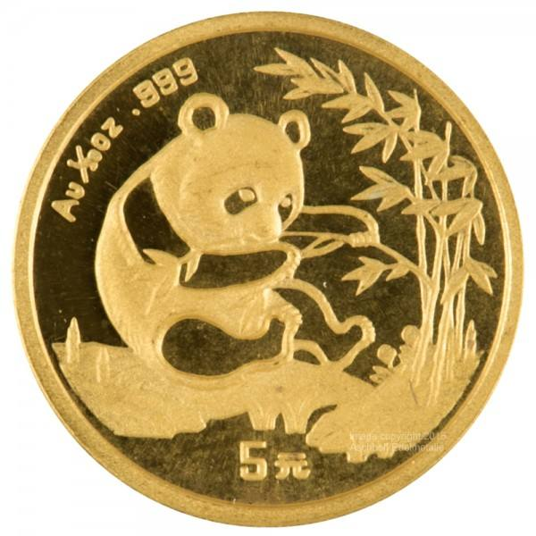 China Panda 1994, Goldmünze 1/20 Unze (oz) Original-Folie