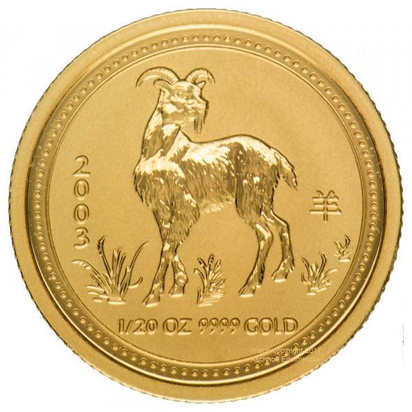 Lunar I 2003 Ziege, Goldmünze 1/20 Unze (oz)