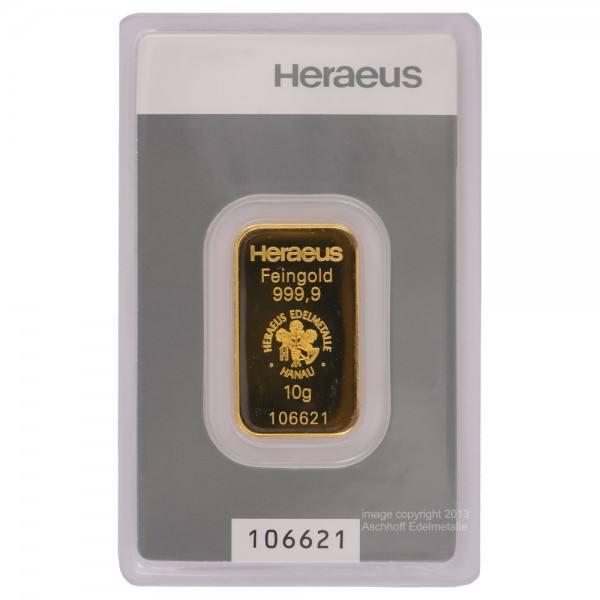 Goldbarren 10g Heraeus Neuware mit Zertifikat