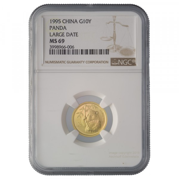 China Panda 1995, Goldmünze 1/10 Unze (oz) Large Date, NGC MS69 im Slap