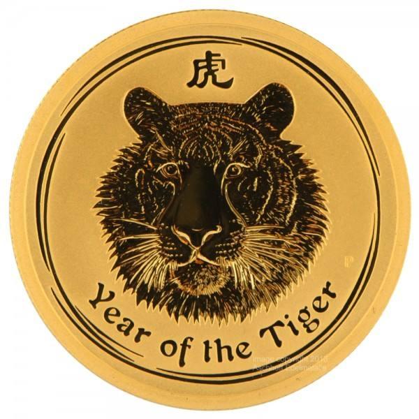 Ankauf: Lunar II 2010 Tiger, Goldmünze 1/10 Unze (oz)