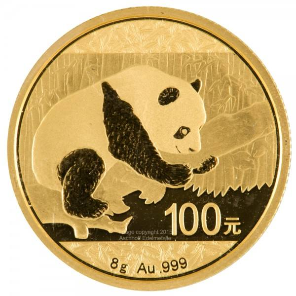 Ankauf: China Panda 2016, Goldmünze 8 Gramm (g)