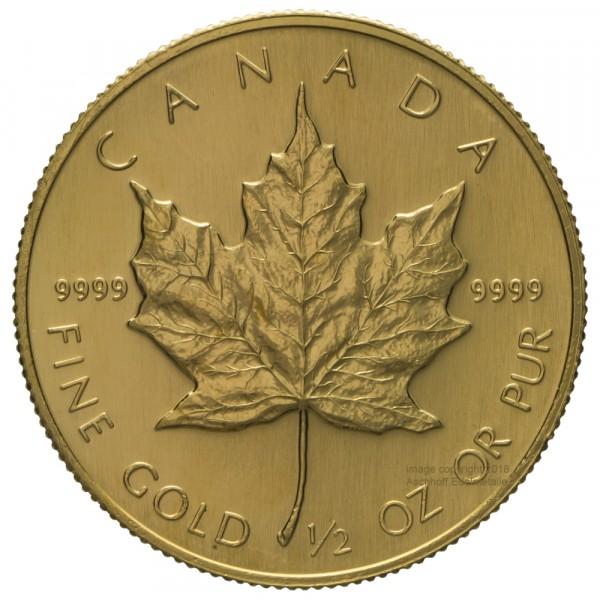 Ankauf: Maple Leaf, Goldmünze 1/2 Unze (oz), diverse Jahrgänge