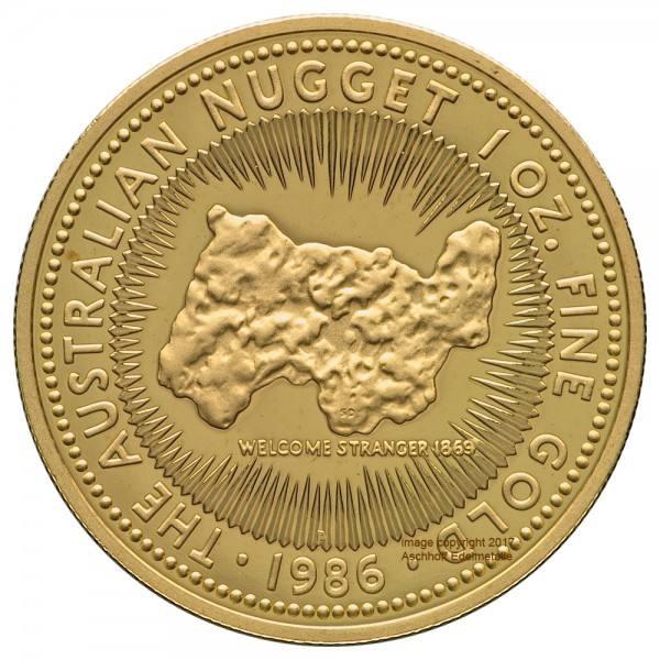 Australian Nugget (Kangaroo) 1986, Goldmünze 1 Unze (oz) PP