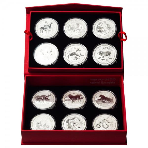 Lunar II 2008 - 2019 Silbermünzen 12 x 5 Unzen Set