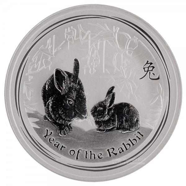 Ankauf: Lunar II 2011 Hase, Silbermünze 2 Unzen (oz)