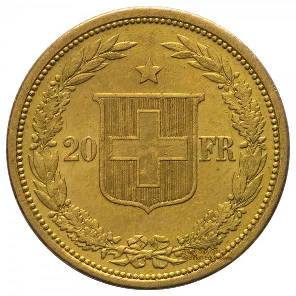 Helvetia Jahr 1886 Goldmünze 20 SFr