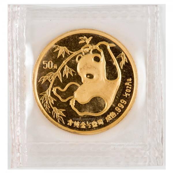 China Panda 1985, Goldmünze 1/2 Unze (oz) Folie
