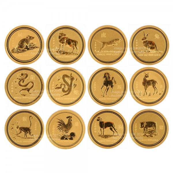 Ankauf: Lunar I Goldmünzen 12 x 1/20 Unze (oz) Komplett-Set