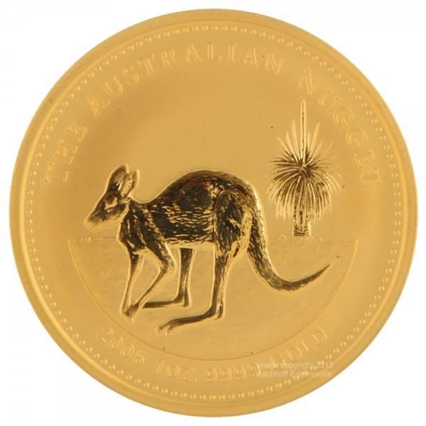 Ankauf: Australian Nugget (Kangaroo) 2005, Goldmünze 1 Unze (oz)