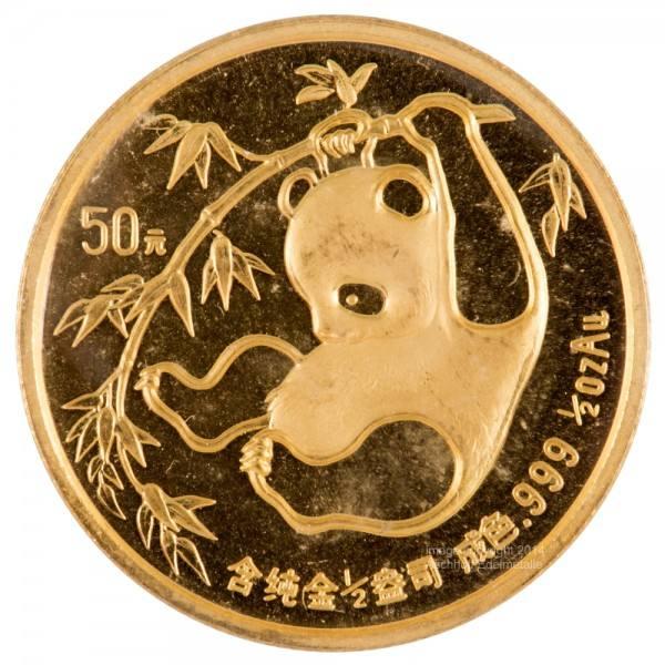 Ankauf: China Panda 1985, Goldmünze 1/2 Unze (oz)