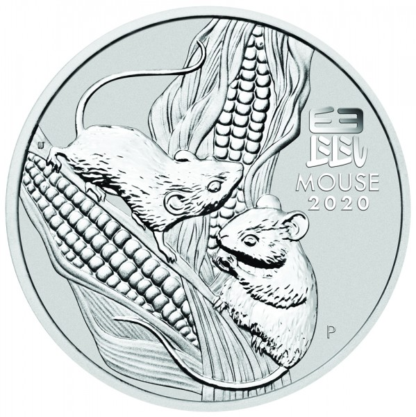 Lunar III 2020 Maus, Silbermünze 5 Unzen (oz)