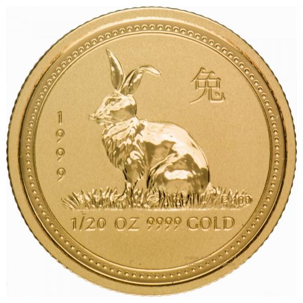 Lunar I 1999 Hase, Goldmünze 1/20 Unze (oz)