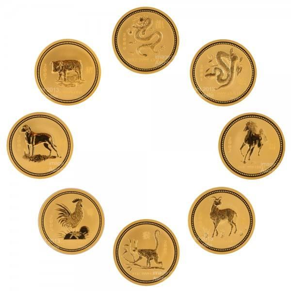 Ankauf: Lunar I Goldmünzen 8 x 2 Unzen (oz) 2000-2007 Set