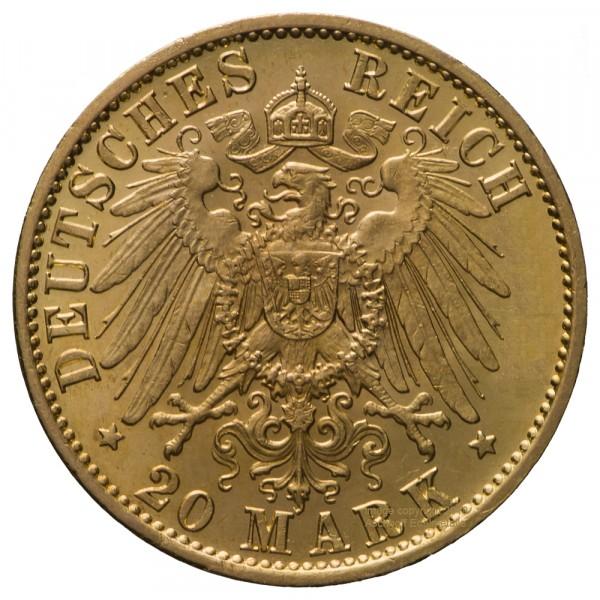 Deutsches Kaiserreich 20 Mark 1905 Wilhelm II., Goldmünze 7,17g fein