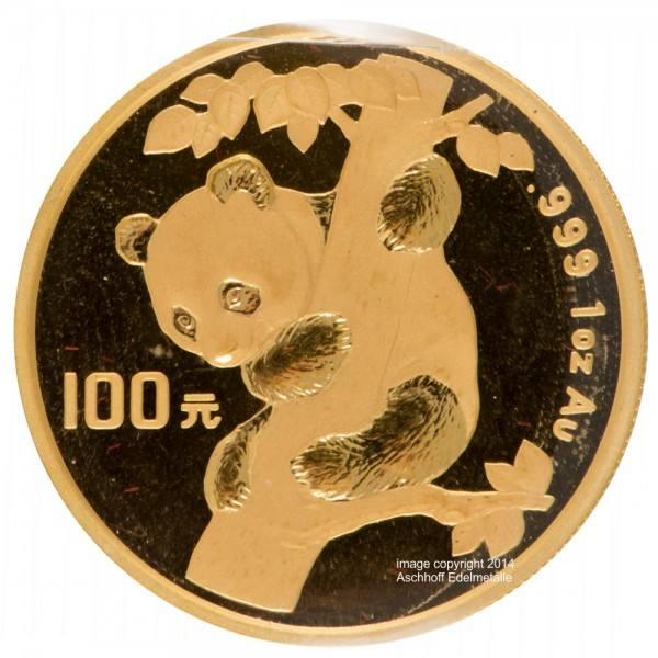 China Panda 1996, Goldmünze 1 Unze (oz) Original-Folie