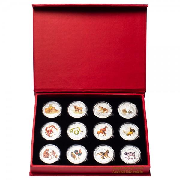 Lunar II 2008 - 2019 Silbermünzen 12 x1/2 Unze Coloriert-Set inkl. hochwertiger Sammlerbox