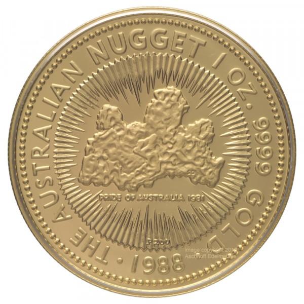 Ankauf: Australian Nugget (Kangaroo) 1988, Goldmünze 1 Unze (oz) PP