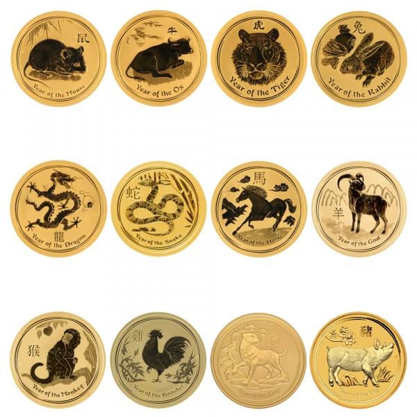 Lunar II 2008 - 2019 Goldmünzen 12 x 2 Unzen Set