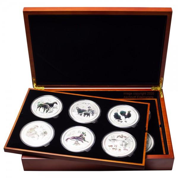Lunar II 2008 - 2019 Silbermünzen 12 x 10 Unzen Set in hochwertiger Box