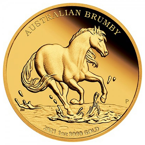 Australian Brumby 2021, Goldmünze 1 Unze (oz), PP