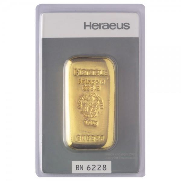 Goldbarren 100g Heraeus, gegossen, Neuware mit Zertifikat