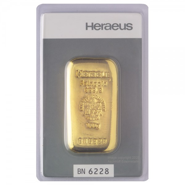 Ankauf: Goldbarren 100g Heraeus