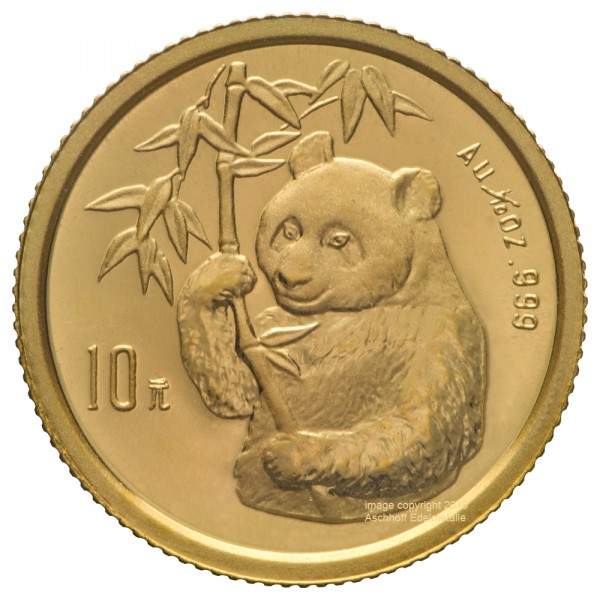 Ankauf: China Panda 1995, Goldmünze 1/10 Unze (oz)