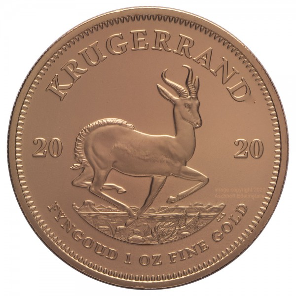 Krügerrand Jahr 2020, Goldmünze 1 Unze (oz)