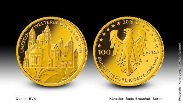 """Goldeuro 2019 Dom zu Speyer """"diverse, Goldmünze 1/2 Unze (oz)"""