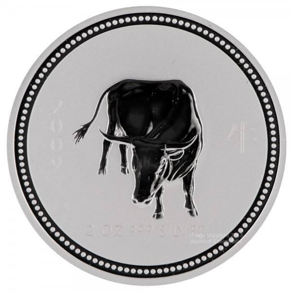 Ankauf: Lunar I 2009 Ochse, Silbermünze 2 Unzen (oz)