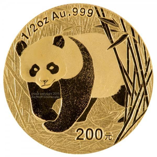 China Panda 2002, Goldmünze 1/2 Unze (oz) Original-Folie