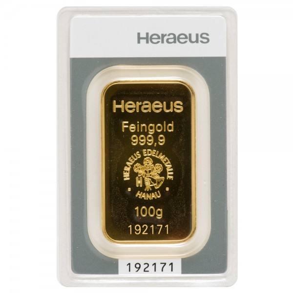 Goldbarren 100g Heraeus Neuware mit Zertifikat