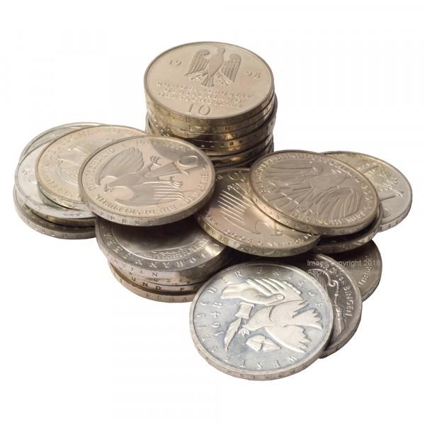 Ankauf: 10 DM Gedenkmünze, Silbermünze 14,34 g fein, diverse Jahrgänge