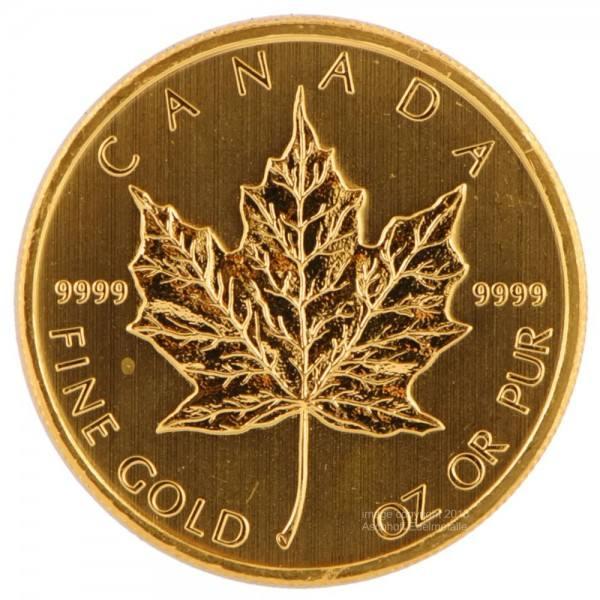Ankauf: Maple Leaf, Goldmünze 1/10 Unze (oz), diverse Jahrgänge