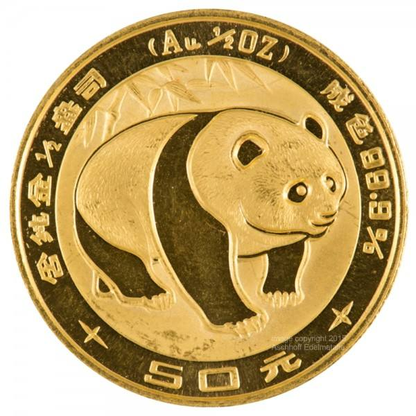 Ankauf: China Panda 1983, Goldmünze 1/2 Unze (oz)