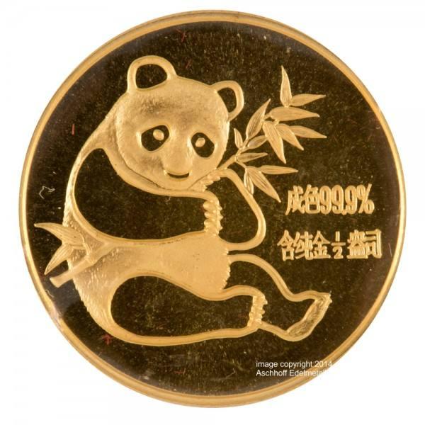 Ankauf: China Panda 1982, Goldmünze 1/2 Unze (oz)