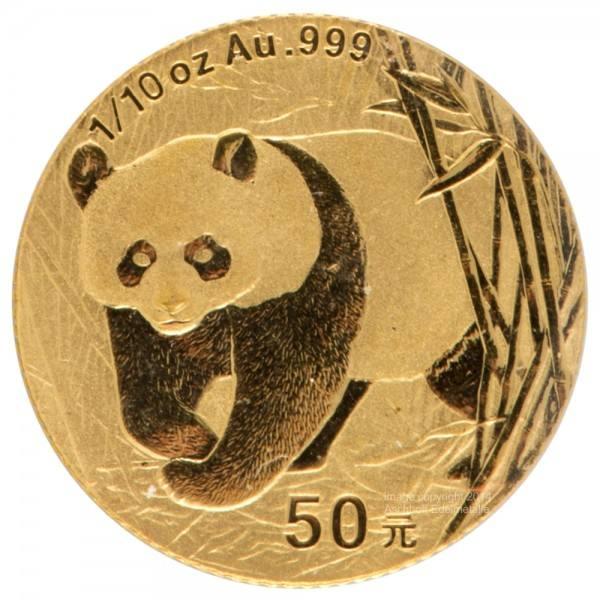China Panda 2001, Goldmünze 1/10 Unze (oz) Original-Folie
