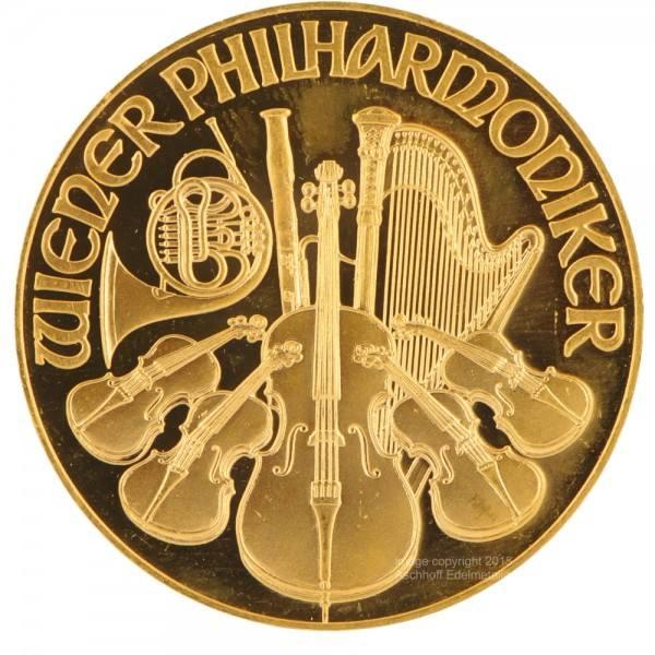 Ankauf: Wiener Philharmoniker, Goldmünze 1/4 Unze (oz), diverse Jahrgänge